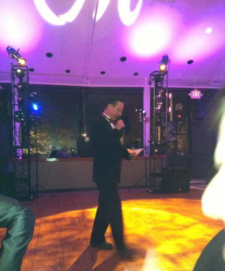 DJ Scott introducing the wedding party at Leah and Michael Marek's wedding.